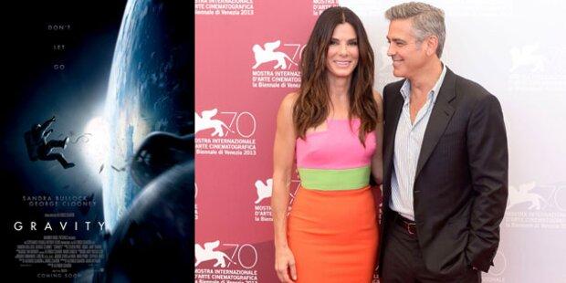 Bullock und Clooney stellten Gravity vor