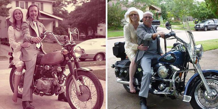 Ehepaar stellt seine Hochzeitsfotos nach