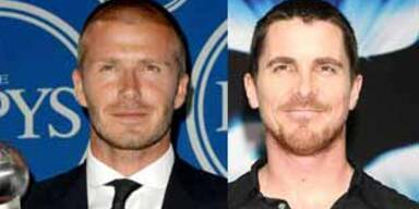 Wie Brüder: David Beckham und Christian Bale KON