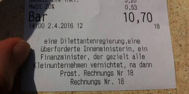 Wiener Wirt druckt seine Verärgerung auf Rechnung