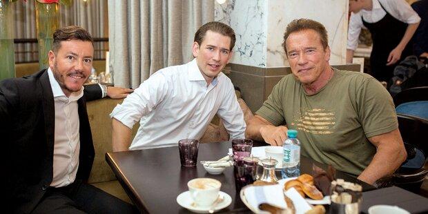 Kurz trifft Schwarzenegger und mokiert sich über FP-Chef Strache