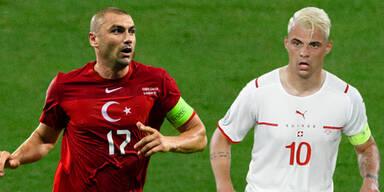 Türkei-Kapitän Burak Yilmaz und Schweiz-Kapitän Granit Xhaka