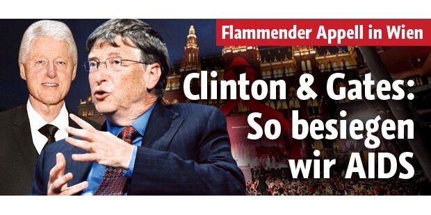 Clinton & Gates sagen Aids den Kampf an