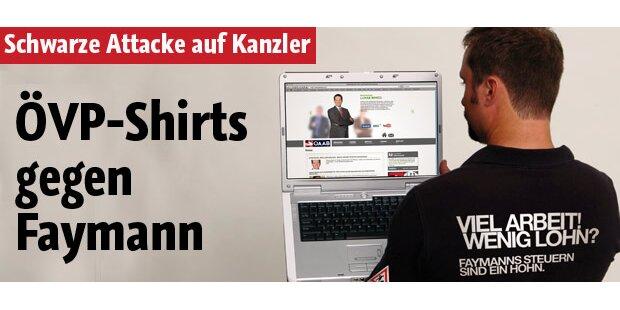 ÖVP-Shirts gegen Kanzler Faymann