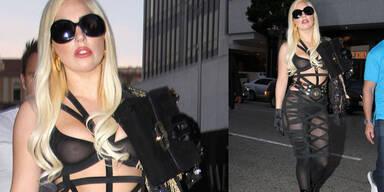 Lady Gaga im Bondage-Kleid