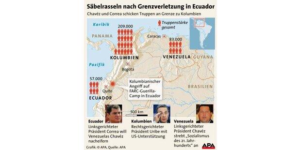 Venezuela und Ecuador drohen Kolumbien