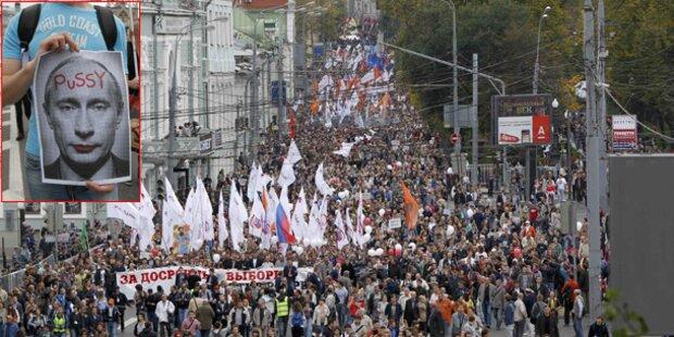 Massenprotest gegen Putin in Moskau