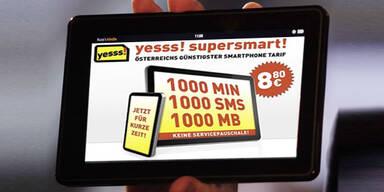 """Neuer Smartphone-Kampftarif von """"Yesss"""""""