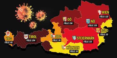 Die Coronavirus-Fälle in allen Bezirken Österreichs