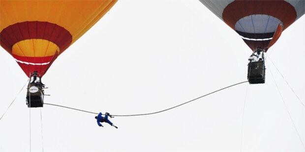 Wind fegt Artist vom Hochseil