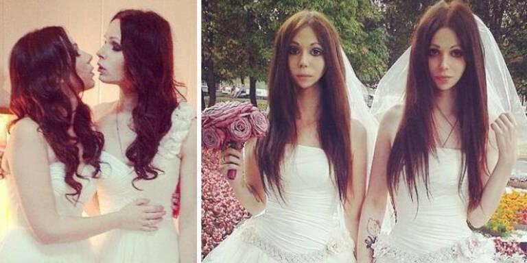 Braut und Bräutigam sehen aus wie Zwillinge