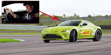 Max Verstappen testet Aston-Martin-Prototyp