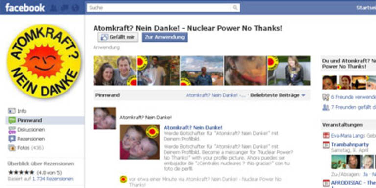Anti-Atomkraft-Aktion auf Facebook