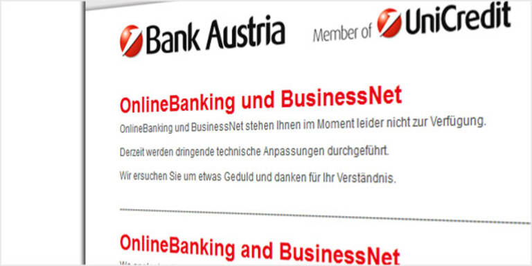 Bank Austria: Online-Probleme behoben
