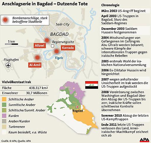Anschlagserie in Bagdad - Grafik
