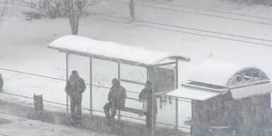 Schneefall auf dem Balkan