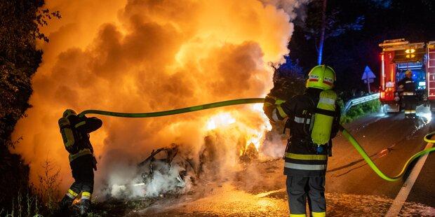 Nach Bankomat-Sprengung: Fluchtauto brannte