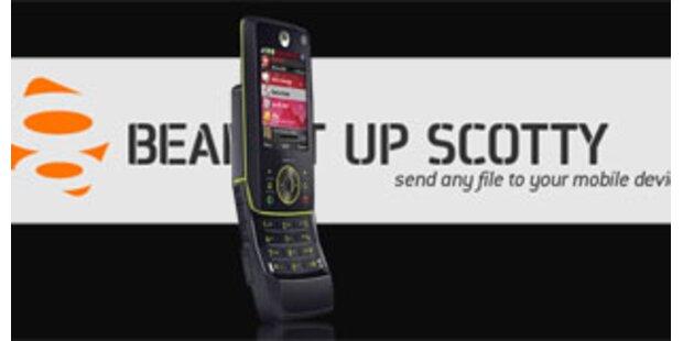 Beam-it-up-scotty.com lädt Dateien aufs Handy