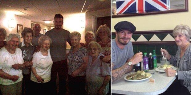 Süß! Beckham besucht Oma im Altersheim
