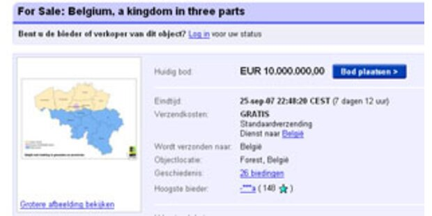 Belgien wurde auf eBay versteigert