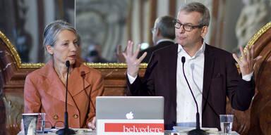 Belvedere-Generaldirektorin Stella Rollig, kaufm. Geschäftsführer Wolfgang Bergmann