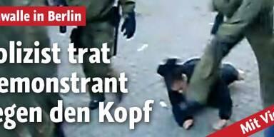 Polizist trat Demonstrant gegen den Kopf