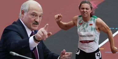 Alexander Lukaschenko und Läuferin Kristina Timanowskaja