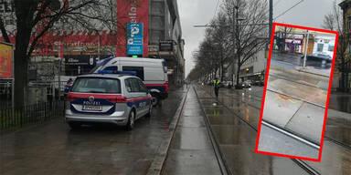 Polizeiautos auf Simmeringer Hauptstraße