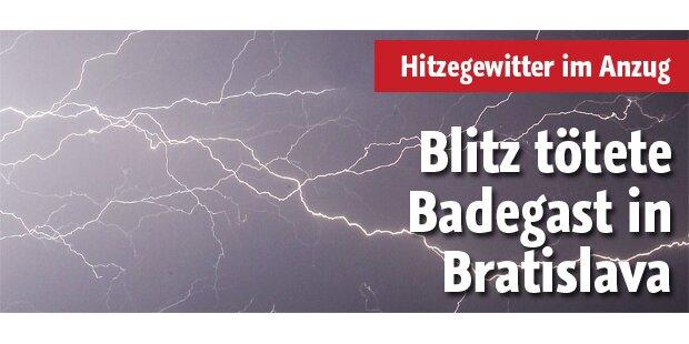 Blitz tötete Badegast in Bratislava