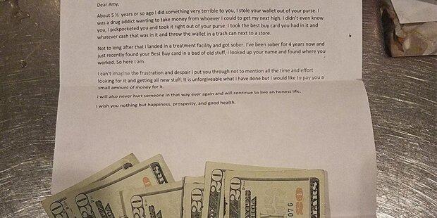 Geldbörse geklaut: Nach 5 Jahren bekommt Frau diesen Brief