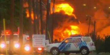 Dramatisch: Güterzug explodiert in Kanada