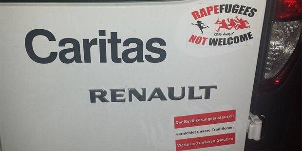 Hassparolen auf Auto von Caritas-Generalsekretär