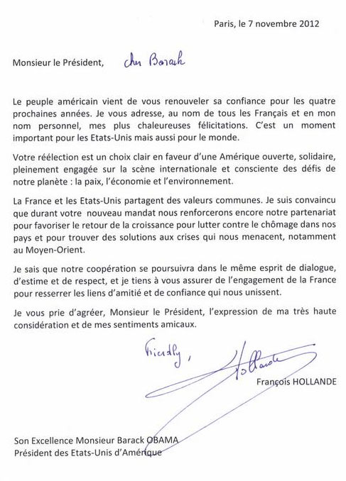 Briefe Schreiben Französisch : Peinlich hollande patzt bei brief an obama