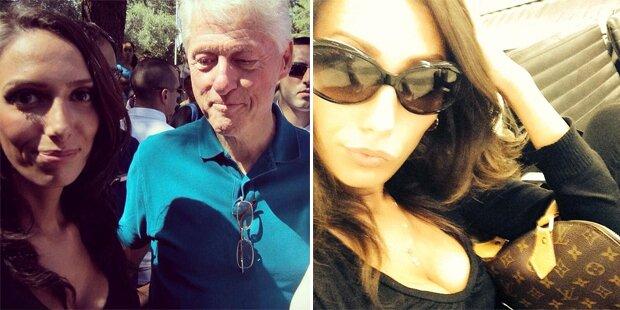 Bill Clinton starrt Frau auf die Brüste