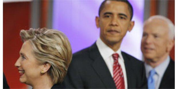 Zugewinne für Hillary Clinton und John McCain