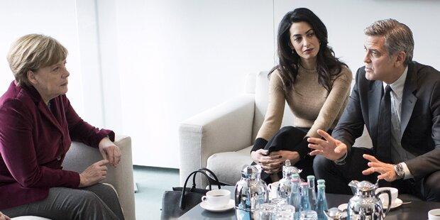 George Clooney traf Flüchtlinge in Berlin