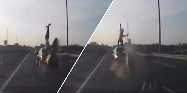 Video zeigt verrückten Motorrad-Crash