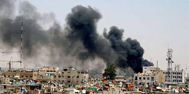 Rauch über Damaskus/Syrien