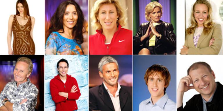 "Die ""Dancing Stars 2007"": Zabine, Timna Brauer, Stephanie Graf, Hera Lind, Nina Proll (obere Reihe v.l.n.r.), Klaus Eberhartinger, Peter L. Eppinger, Michael Konsel, Michael Tschuggnall, Harry Prünster (v.l.n.r.). (c) ORF"