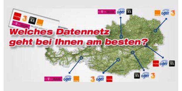 Erste Datenkarten Testaktion Österreichs