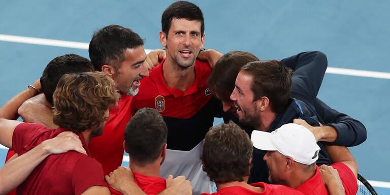 Novak Djokovic mit Serbien im Endspiel