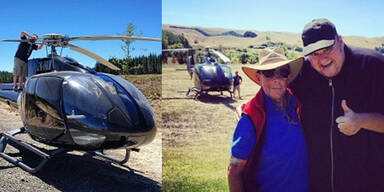 Dotcoms Hubschrauber musste notlanden