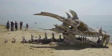 Ein Drachenschädel mitten am Strand