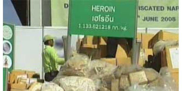 Thailand verbrannte 15 Tonnen Rauschgift
