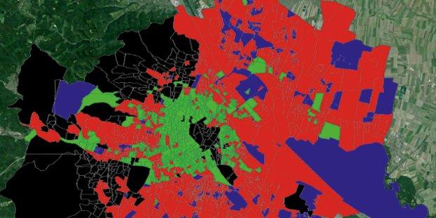So färbten die Wähler die Wienkarte um