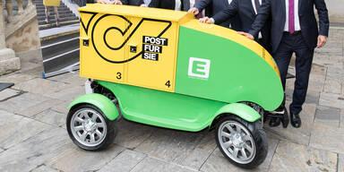 Autonomes E-Mobil stellt Pakete in Graz zu
