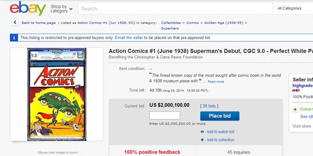 Teuerster Comic der Welt auf eBay
