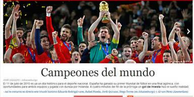 """Der """"El Pais"""" aus Spanien: Schlicht und einfach: """"Weltmeister""""."""