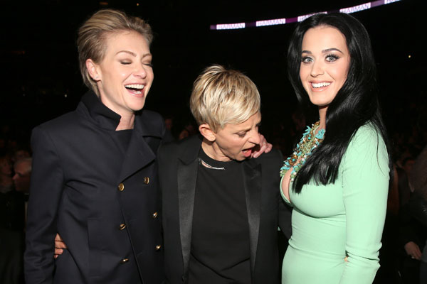 Grammys 2013: Portia de Rossi, Ellen DeGeneres, Katy Perry
