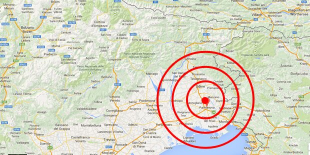 Erdrutsch in der Nähe von Udine